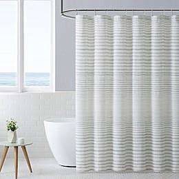 Island Stripe Blue Sea Shower Curtain