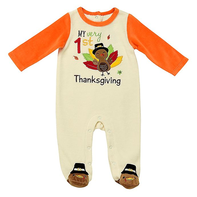 Alternate image 1 for Baby Starters® First Thanksgiving Footie in Ivory/Orange