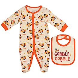 Baby Starters® 2-Piece Turkey Footie and Bib Set in Ivory/Orange
