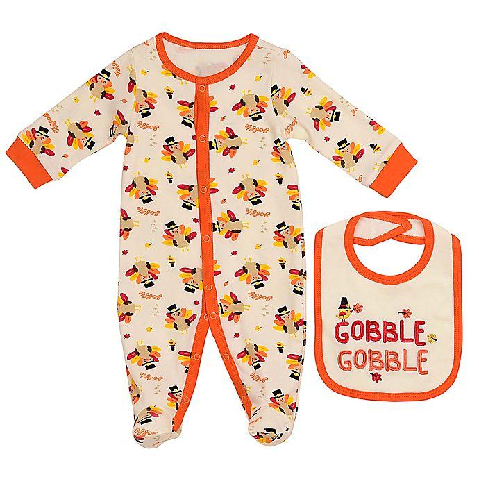Alternate image 1 for Baby Starters® 2-Piece Turkey Footie and Bib Set in Ivory/Orange