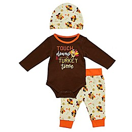 Baby Starters® 3-Piece Touchdowns & Turkey Bodysuit, Pant and Hat Set in Brown