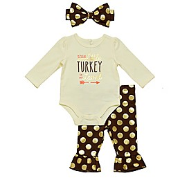 Baby Starters® 3-Piece Turkey Bodysuit, Pant and Headband Set in Gold