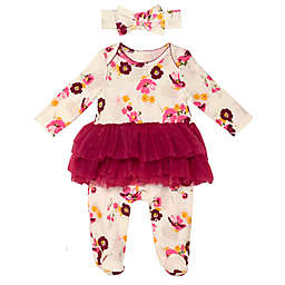 Baby Starters® Newborn 2-Piece Floral Tutu Coverall and Headband Set in Pink