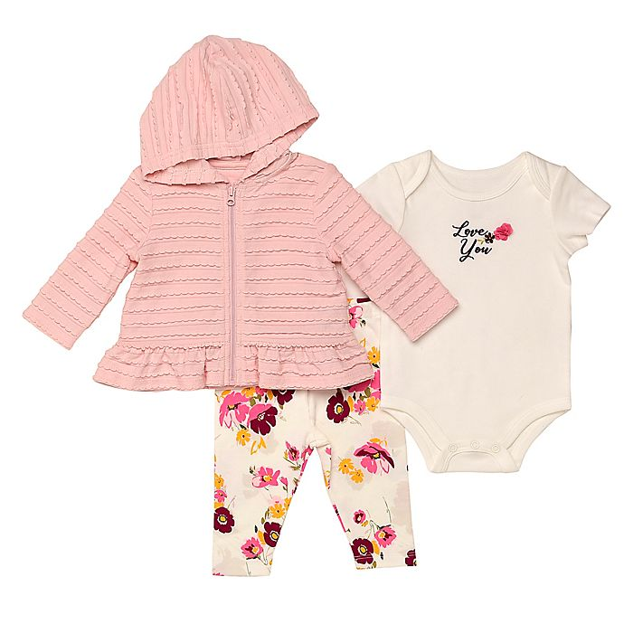 Alternate image 1 for Baby Starters® 3-Piece Floral Hooded Jacket, Bodysuit, and Pant Set