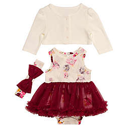 Baby Starters® 3-Piece Floral Tutu Bodysuit, Cardigan and Headband Set