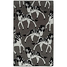 Kaleen Forever Fauna Zebra 8' x 10' Indoor/Outdoor Area Rug in Charcoal