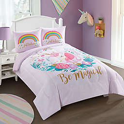 Heritage Kids Believe In Unicorns 3-Piece Reversible Comforter Set in Purple