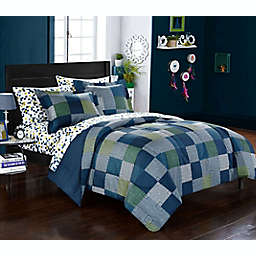 Geo Blocks 7-Piece Reversible Comforter Set in Blue