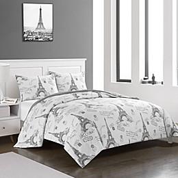 Heritage Kids All Over Printed Paris 3-Piece Reversible Comforter Set