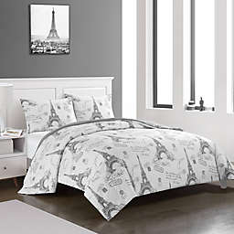 Heritage Kids All Over Printed Paris 3-Piece Reversible King Comforter Set