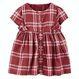 OshKosh B'gosh® Size 3M Plaid Bow Dress in Burgundy