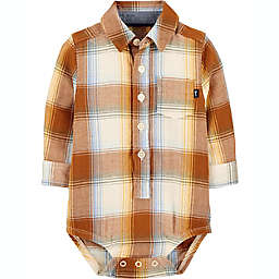 OshKosh B'gosh® Size 3M Plaid Herringbone Bodysuit in Brown