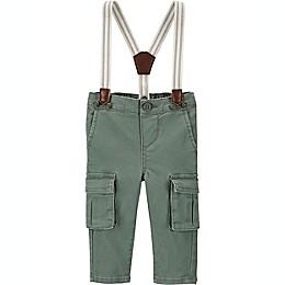 OshKosh B'gosh® Stretch Cargo Suspender Pants in Grey