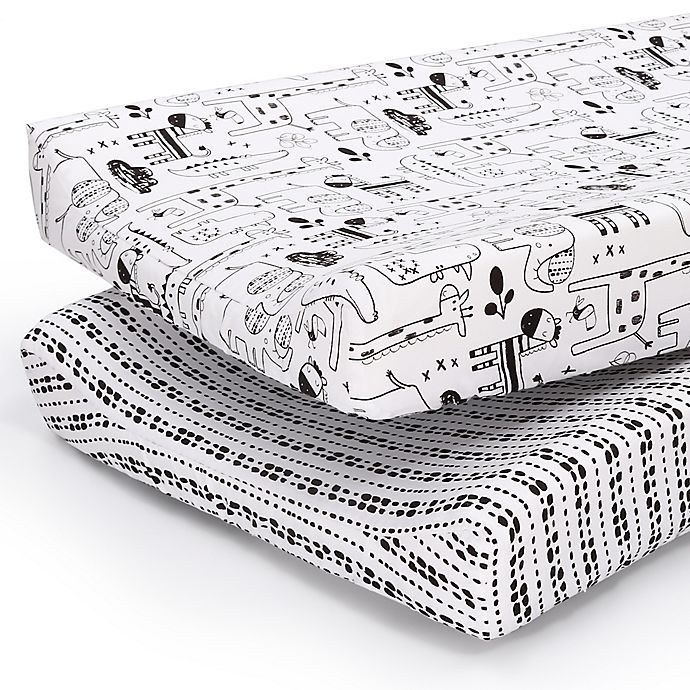 Alternate image 1 for PS by the peanutshell™ 2-Pack Animals/Tribal Stripe Changing Pad Covers in Black/White