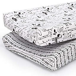 PS by the peanutshell™ 2-Pack Animals/Tribal Stripe Changing Pad Covers in Black/White
