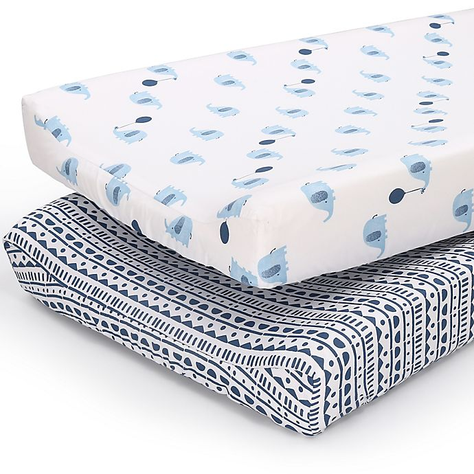 Alternate image 1 for PS by the peanutshell™ 2-Pack Tribal/Elephants Changing Pad Covers in Blue/Navy