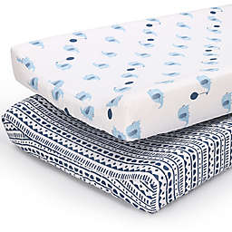 PS by the peanutshell™ 2-Pack Tribal/Elephants Changing Pad Covers in Blue/Navy