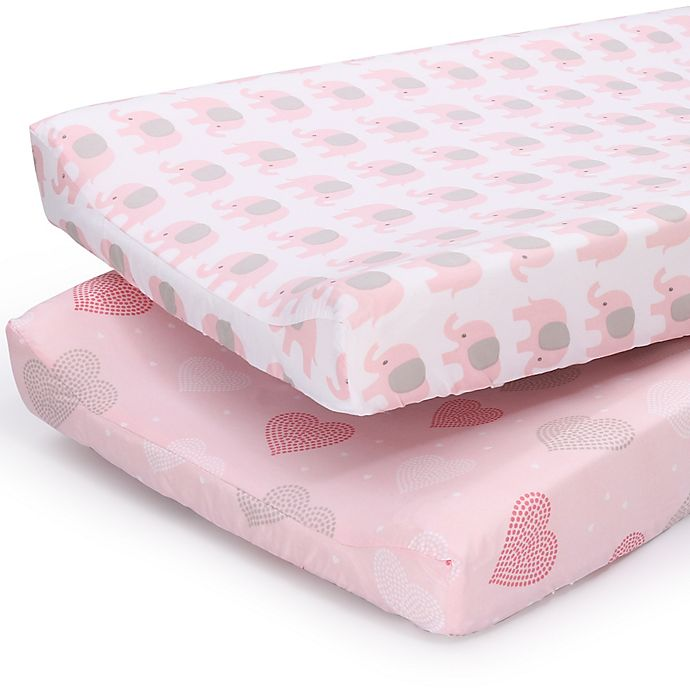 Alternate image 1 for PS by the peanutshell™ 2-Pack Hearts/Elephants Changing Pad Covers in Pink/Grey