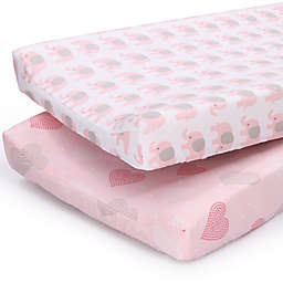 PS by the peanutshell™ 2-Pack Hearts/Elephants Changing Pad Covers in Pink/Grey