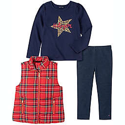 Tommy Hilfiger® 3-Piece Star Vest, Shirt, and Legging Set in Red/Navy