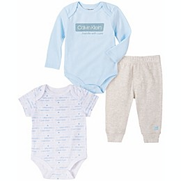 Calvin Klein 3-Piece Bodysuit and Pant Set in Light Blue