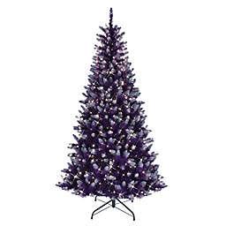 Puleo International 6.5-Foot Pre-Lit Artificial Pine Christmas Tree
