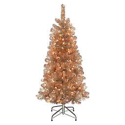 Puleo International 4.5-Foot Pre-Lit Artificial Fir Christmas Tree in Rose Gold