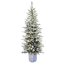 Puleo International Faux Arctic Fir Pre-Lit Potted Christmas Tree in Green