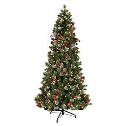 Puleo International 7.5-Foot Pre-Lit Slim Pine Artificial Christmas Tree in Green