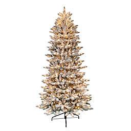 Puleo International 9-Foot Pre-Lit Flocked Artificial Christmas Tree in Green