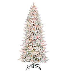 Puleo International 7.5-Foot Pre-Lit Slim Flocked Fir Artificial Christmas Tree in Green