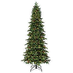 Puleo International 7.5-Foot Pre-Lit Slim Montville Spruce Artificial Christmas Tree in Green