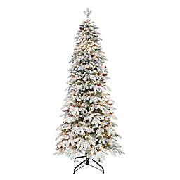 Puleo International 7.5-Foot Pre-Lit Flocked Spruce Artificial Christmas Tree in Green