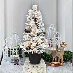 Puleo International 3.5-Foot Pre-Lit Flocked Artificial Christmas Tree in Green