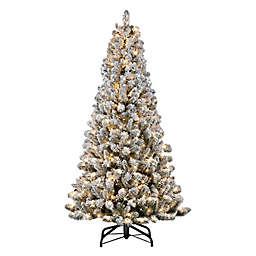 Puleo International 6.5-Foot Pre-Lit Flocked Artificial Pine Christmas Tree in Green