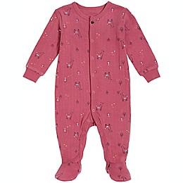 Petit Lem® Allover Deer Organic Cotton Footie in Dark Pink