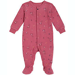 Petit Lem® Size 9M Allover Deer Organic Cotton Footie in Dark Pink