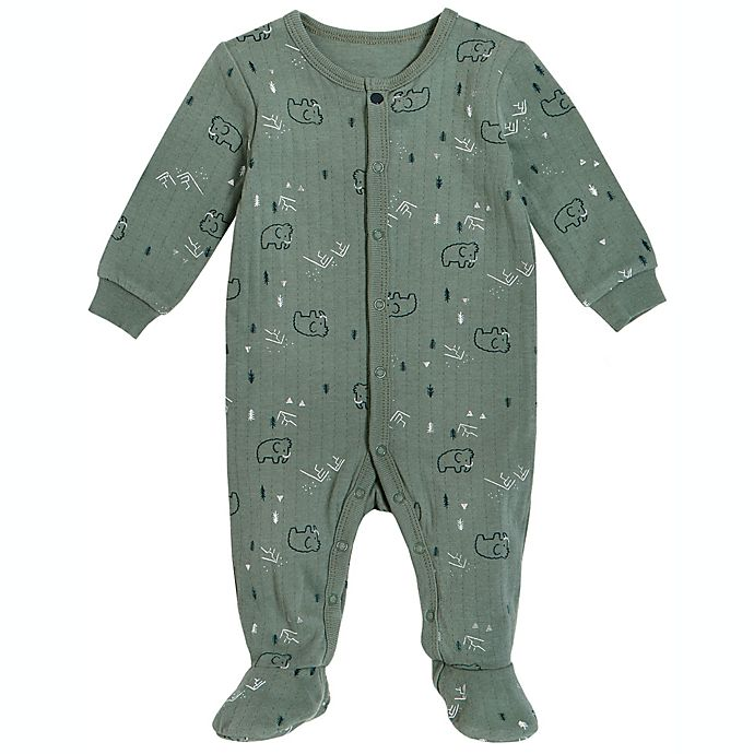 Alternate image 1 for Petit Lem® Mammoth Organic Cotton Footie in Green