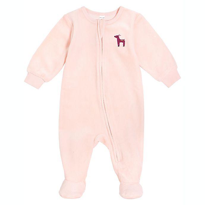 Alternate image 1 for Petit Lem® Deer Velour Footie in Pink