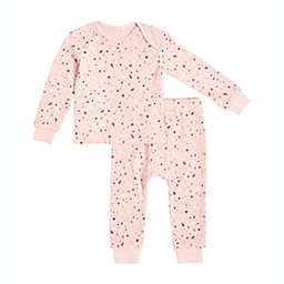 Petit Lem Size 6M 2-Piece Splatter Thermal Pajama Set in Pink