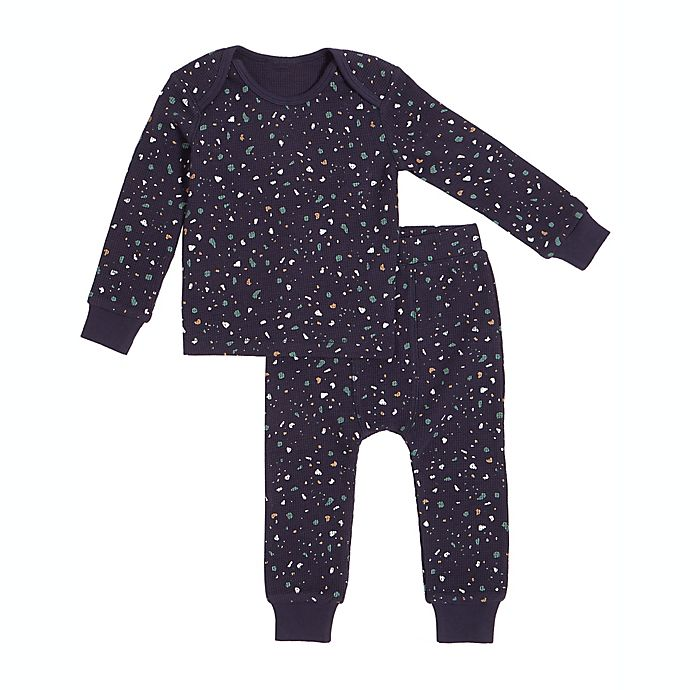 Alternate image 1 for Petit Lem 2-Piece Splatter Thermal Pajama Set