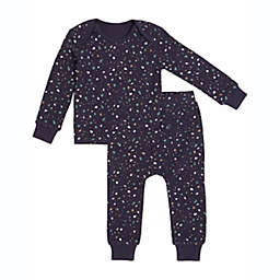 Petit Lem Size Newborn 2-Piece Splatter Thermal Pajama Set in Navy
