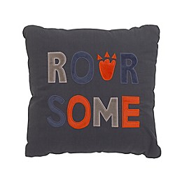 NoJo® Roarsome Square Throw Pillow in Grey