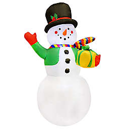 7-Foot Christmas Snowman with Gift Inflatable LED Lit Lawn Decoration