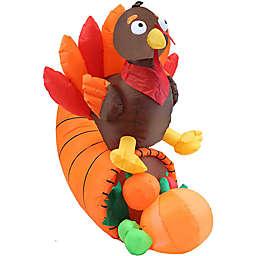 5-Foot Turkey on Cornucopia Inflatable LED Lit Lawn Decoration