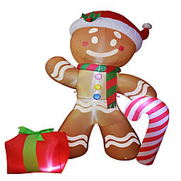 8-Foot Gingerbread Man Inflatable LED Lit Lawn Decoration