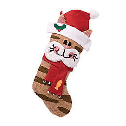 Glitzhome® 3D Cat Hooked Christmas Stocking
