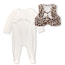 Biscotti Velour and Leopard Footie Coverall in Ivory