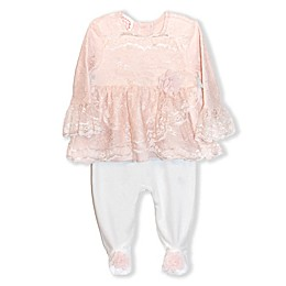 Biscotti Lace Footie Coverall in Champagne/Ivory