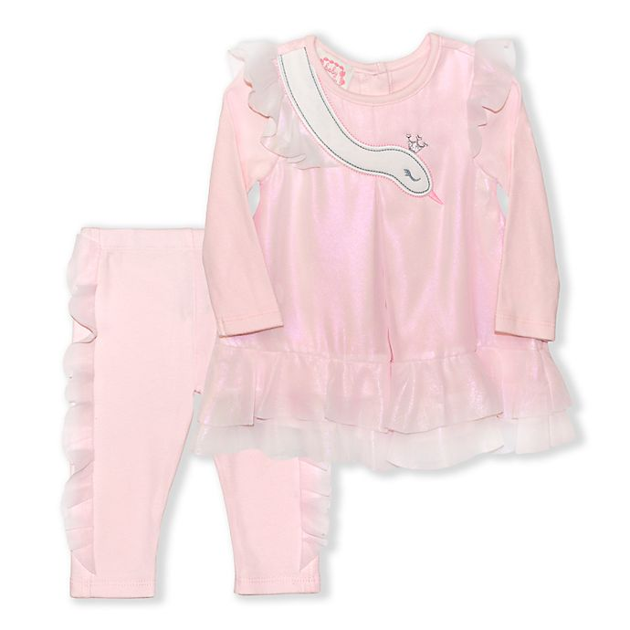Alternate image 1 for Biscotti Swan 2-Piece Dress and Pant Set in Pink